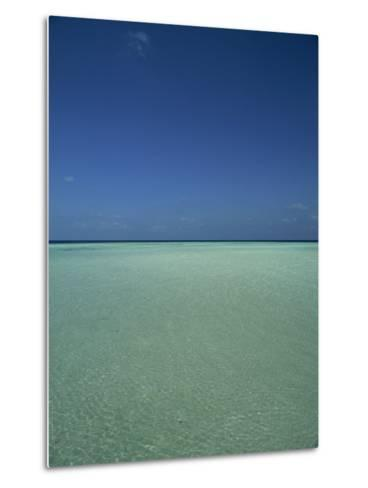 Turquoise Sea and Blue Sky, Seascape in the Maldives, Indian Ocean-Fraser Hall-Metal Print