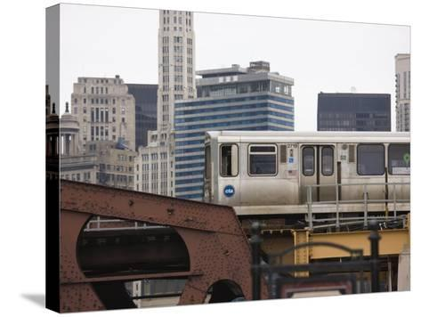 El Train on the Elevated Train System, the Loop, Chicago, Illinois, USA-Amanda Hall-Stretched Canvas Print