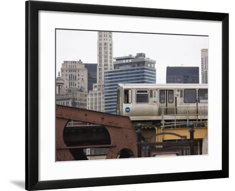 El Train on the Elevated Train System, the Loop, Chicago, Illinois, USA-Amanda Hall-Framed Art Print