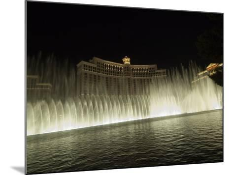 Bellagio Hotel at Night with its Famous Fountains, the Strip, Las Vegas, Nevada, USA-Robert Harding-Mounted Photographic Print