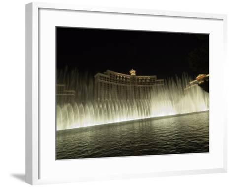 Bellagio Hotel at Night with its Famous Fountains, the Strip, Las Vegas, Nevada, USA-Robert Harding-Framed Art Print