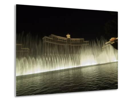 Bellagio Hotel at Night with its Famous Fountains, the Strip, Las Vegas, Nevada, USA-Robert Harding-Metal Print