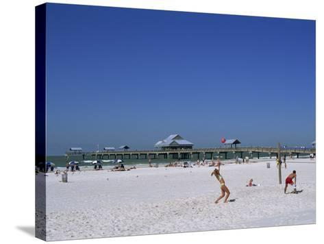 Beach and Pier, Clearwater Beach, Florida, United States of America, North America-Fraser Hall-Stretched Canvas Print