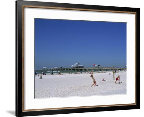 Beach and Pier, Clearwater Beach, Florida, United States of America, North America-Fraser Hall-Framed Art Print