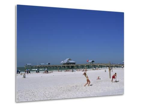 Beach and Pier, Clearwater Beach, Florida, United States of America, North America-Fraser Hall-Metal Print
