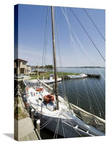 Skipjack Sailing Boat, Chesapeake Bay Maritime Museum, St. Michaels, Maryland, USA-Robert Harding-Stretched Canvas Print