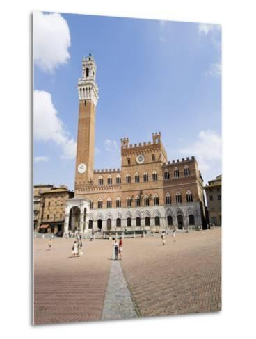 Piazza Del Campo and the Palazzo Pubblico with its Amazing Bell Tower, Siena, Tuscany, Italy-Robert Harding-Metal Print