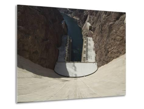 Hoover Dam on the Colorado River Forming the Border Between Arizona and Nevada, USA-Robert Harding-Metal Print