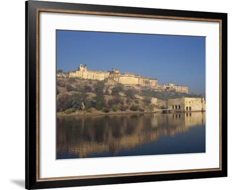 Amber Palace and Fort, Built in 1592, from Moata Sagar, Jaipur, Rajasthan State, India-Robert Harding-Framed Art Print