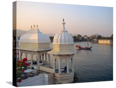 Royal Barge at the Lake Palace Hotel, Udaipur, Rajasthan State, India-Robert Harding-Stretched Canvas Print