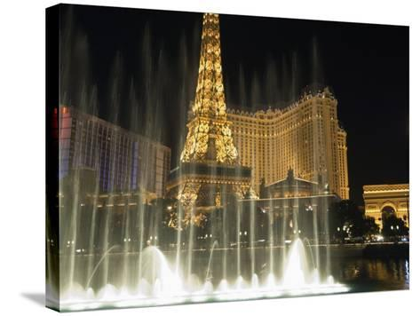 Paris Hotel and Bellagio Hotel at Night, the Strip, Las Vegas, Nevada, USA-Robert Harding-Stretched Canvas Print