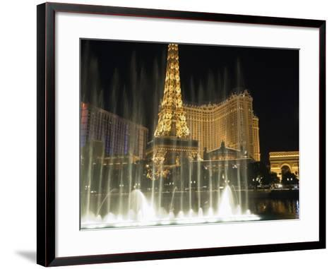 Paris Hotel and Bellagio Hotel at Night, the Strip, Las Vegas, Nevada, USA-Robert Harding-Framed Art Print