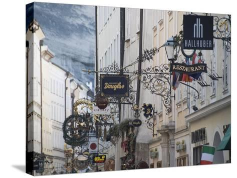 Signs in Getreidegasse the Main Shopping Streeet, Salzburg, Austria, Europe-Robert Harding-Stretched Canvas Print