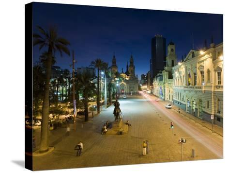 Elevated Dusk View over Plaza De Armas to Santiago Cathedral, Santiago, Chile, South America-Gavin Hellier-Stretched Canvas Print