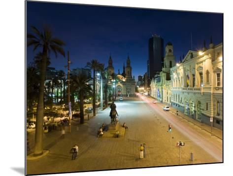 Elevated Dusk View over Plaza De Armas to Santiago Cathedral, Santiago, Chile, South America-Gavin Hellier-Mounted Photographic Print