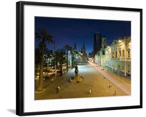 Elevated Dusk View over Plaza De Armas to Santiago Cathedral, Santiago, Chile, South America-Gavin Hellier-Framed Art Print
