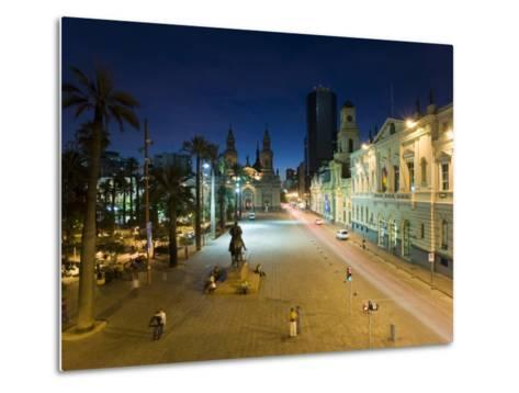 Elevated Dusk View over Plaza De Armas to Santiago Cathedral, Santiago, Chile, South America-Gavin Hellier-Metal Print