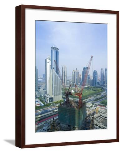 Skyscrapers and New Construction in the Lujiazui Financial District of Pudong, Shanghai, China-Gavin Hellier-Framed Art Print