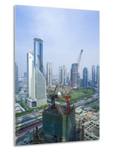 Skyscrapers and New Construction in the Lujiazui Financial District of Pudong, Shanghai, China-Gavin Hellier-Metal Print