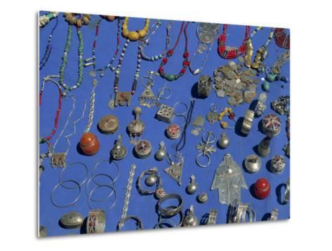 Jewellery Laid Out for Sale, Boumalne Du Dades Market, Morocco, North Africa, Africa-Harding Robert-Metal Print