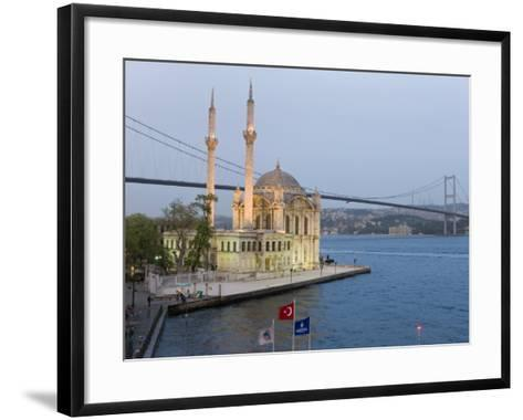 Bosphorous Bridge and Ortakoy Camii Mosque in the Trendy Ortakoy District, Istanbul, Turkey-Gavin Hellier-Framed Art Print