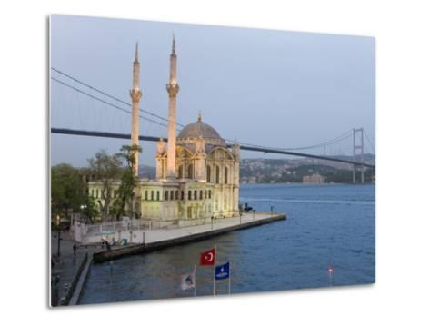 Bosphorous Bridge and Ortakoy Camii Mosque in the Trendy Ortakoy District, Istanbul, Turkey-Gavin Hellier-Metal Print