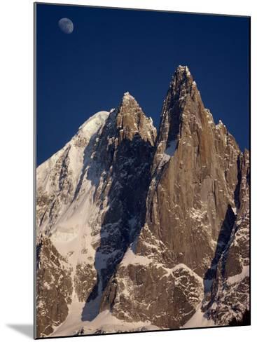 Jagged Peak of Aiguille Du Dru and the Moon, Chamonix, Rhone Alpes, France, Europe-Hart Kim-Mounted Photographic Print