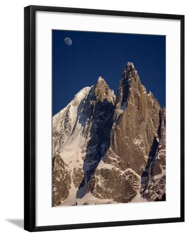 Jagged Peak of Aiguille Du Dru and the Moon, Chamonix, Rhone Alpes, France, Europe-Hart Kim-Framed Art Print