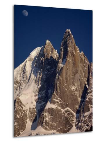 Jagged Peak of Aiguille Du Dru and the Moon, Chamonix, Rhone Alpes, France, Europe-Hart Kim-Metal Print