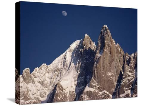 Jagged Peak of Aiguille Du Dru and the Moon, Chamonix, Rhone Alpes, France, Europe-Hart Kim-Stretched Canvas Print
