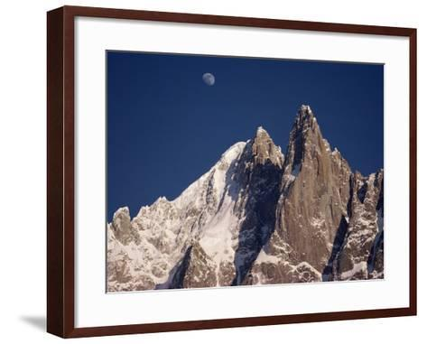 Jagged Peak of Aiguille Du Dru and the Moon, Chamonix, Rhone Alpes, France, Europe-Hart Kim-Framed Art Print