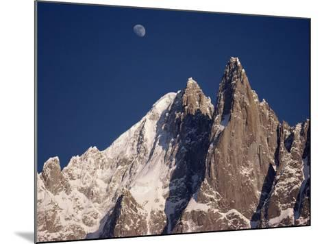Jagged Peak of Aiguille Du Dru and the Moon, Chamonix, Rhone Alpes, France, Europe-Hart Kim-Mounted Photographic Print