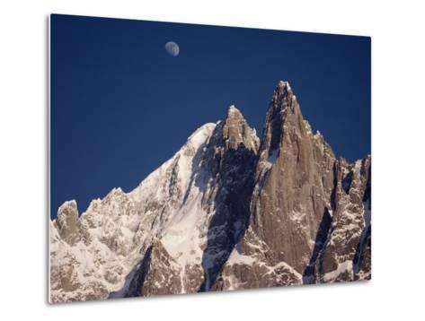 Jagged Peak of Aiguille Du Dru and the Moon, Chamonix, Rhone Alpes, France, Europe-Hart Kim-Metal Print