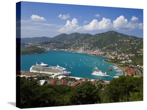 Charlotte Amalie and Cruise Ship Dock of Havensight, St. Thomas, U.S. Virgin Islands, West Indies-Gavin Hellier-Stretched Canvas Print