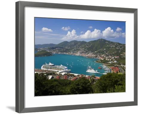 Charlotte Amalie and Cruise Ship Dock of Havensight, St. Thomas, U.S. Virgin Islands, West Indies-Gavin Hellier-Framed Art Print