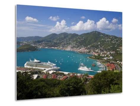 Charlotte Amalie and Cruise Ship Dock of Havensight, St. Thomas, U.S. Virgin Islands, West Indies-Gavin Hellier-Metal Print