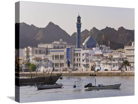 View Along the Corniche, Latticed Houses and Mutrah Mosque, Mutrah, Muscat, Oman, Middle East-Gavin Hellier-Stretched Canvas Print