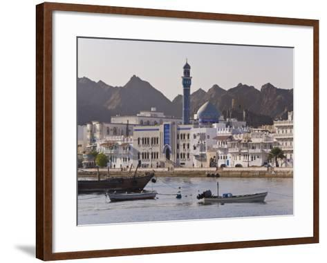 View Along the Corniche, Latticed Houses and Mutrah Mosque, Mutrah, Muscat, Oman, Middle East-Gavin Hellier-Framed Art Print