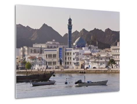 View Along the Corniche, Latticed Houses and Mutrah Mosque, Mutrah, Muscat, Oman, Middle East-Gavin Hellier-Metal Print