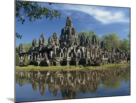 Bayon Temple Reflected in Water at Angkor, Siem Reap, Cambodia, Indochina, Southeast Asia-Gavin Hellier-Mounted Photographic Print