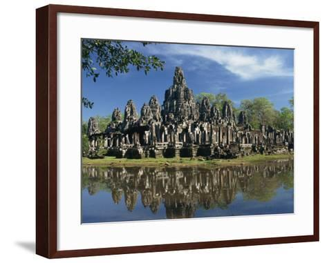 Bayon Temple Reflected in Water at Angkor, Siem Reap, Cambodia, Indochina, Southeast Asia-Gavin Hellier-Framed Art Print