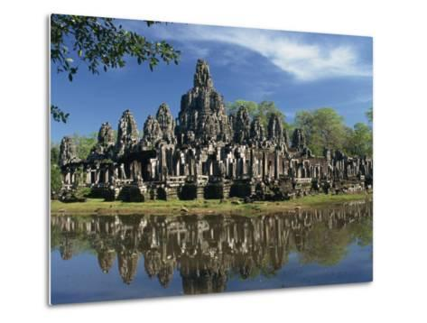 Bayon Temple Reflected in Water at Angkor, Siem Reap, Cambodia, Indochina, Southeast Asia-Gavin Hellier-Metal Print