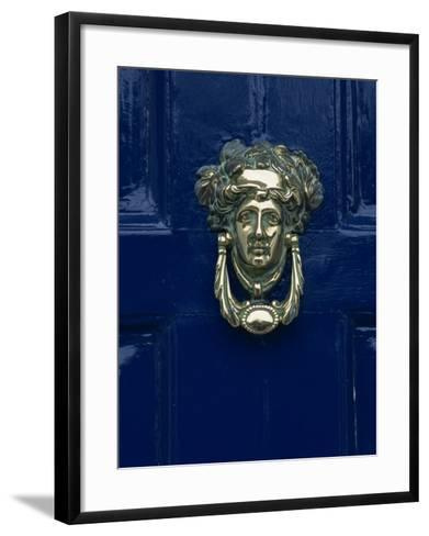 Blue Painted Door and Knocker in the Centre of the City of Dublin, Eire, Europe-Gavin Hellier-Framed Art Print