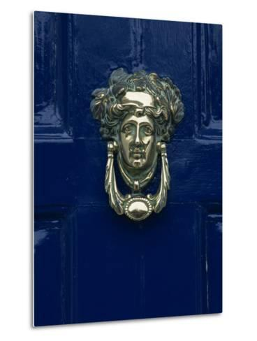 Blue Painted Door and Knocker in the Centre of the City of Dublin, Eire, Europe-Gavin Hellier-Metal Print