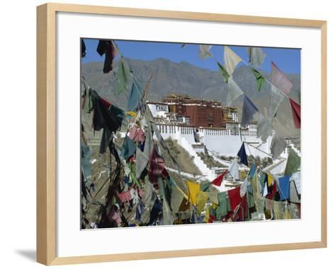 Potala Palace, UNESCO World Heritage Site, Seen Through Prayer Flags, Lhasa, Tibet, China-Gavin Hellier-Framed Art Print