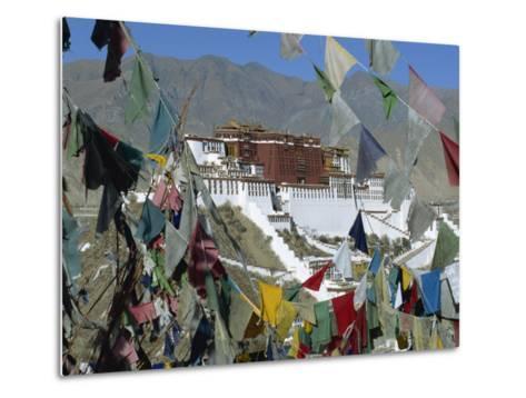 Potala Palace, UNESCO World Heritage Site, Seen Through Prayer Flags, Lhasa, Tibet, China-Gavin Hellier-Metal Print