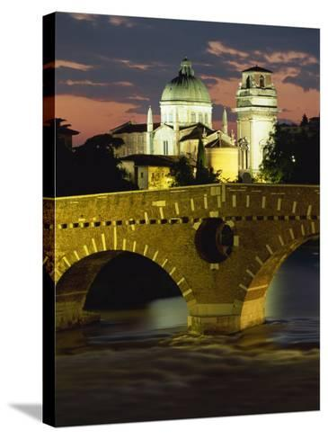 Ponte Pietra Bridge and Adige River at Dusk in the Town of Verona, Veneto, Italy, Europe-Gavin Hellier-Stretched Canvas Print