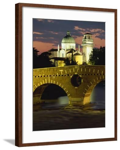 Ponte Pietra Bridge and Adige River at Dusk in the Town of Verona, Veneto, Italy, Europe-Gavin Hellier-Framed Art Print