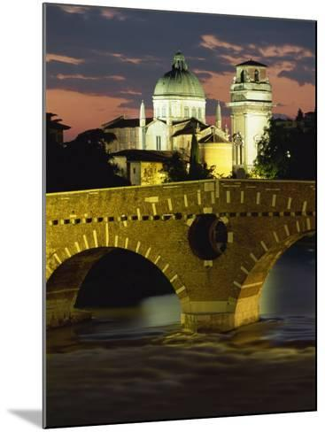 Ponte Pietra Bridge and Adige River at Dusk in the Town of Verona, Veneto, Italy, Europe-Gavin Hellier-Mounted Photographic Print