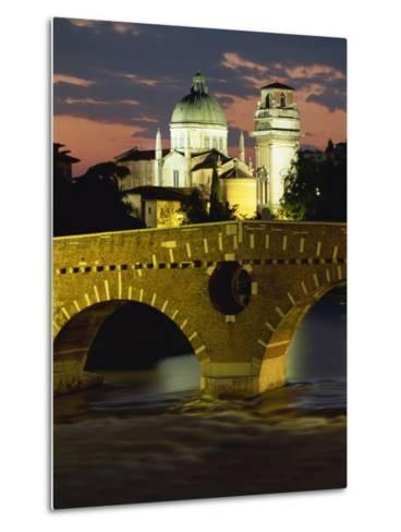 Ponte Pietra Bridge and Adige River at Dusk in the Town of Verona, Veneto, Italy, Europe-Gavin Hellier-Metal Print